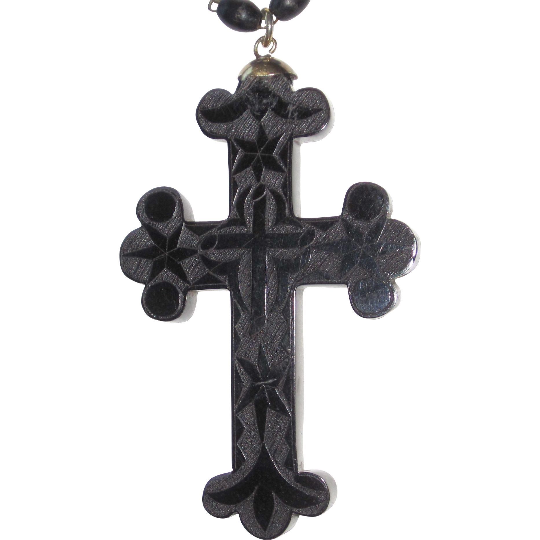 Victorian Whitby Jet Large Cross