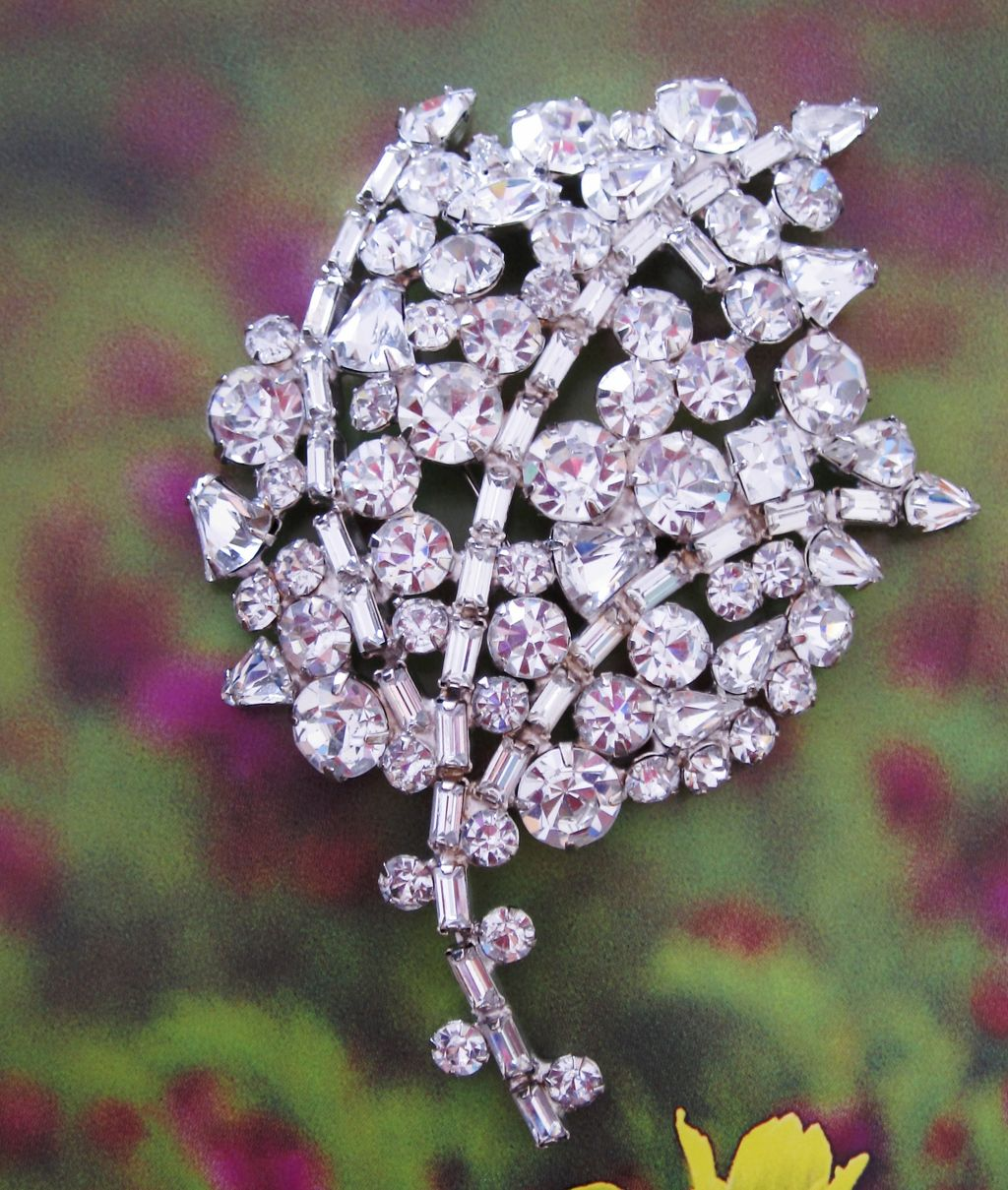 Large Vintage Rhinestone Brooch Fit For a Bride