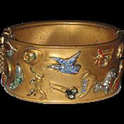Vintage 1930s Brass Charm Cuff Bracelet