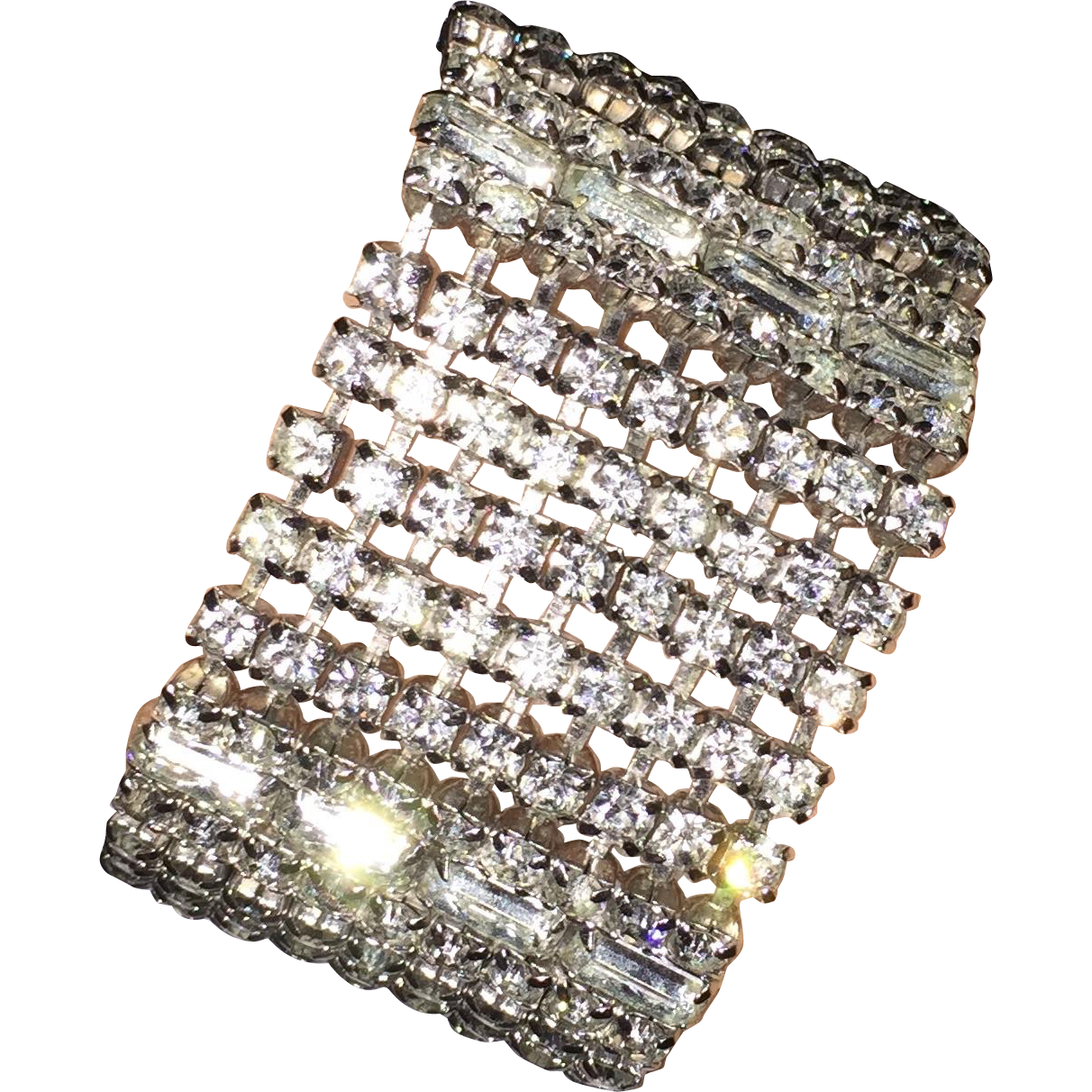 Gorgeous Spectacular Wide Sparkling Vintage a Rhinestone Bracelet Fit for a Bride