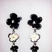 Wild Black and White Enamel Clip Earrings