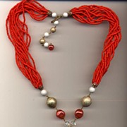 Red Orange Seed Beads Long Necklace