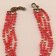 Vintage Rose Colored 4 Row Glass Bumpy Beads