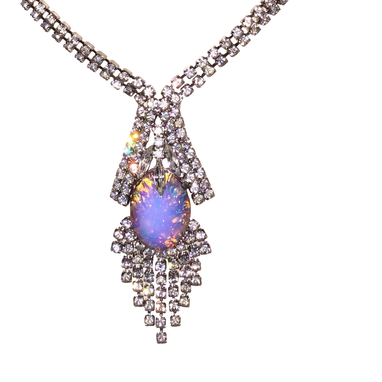 Vintage Sparkling Rhinestone Necklace with Foiled Glass Stone