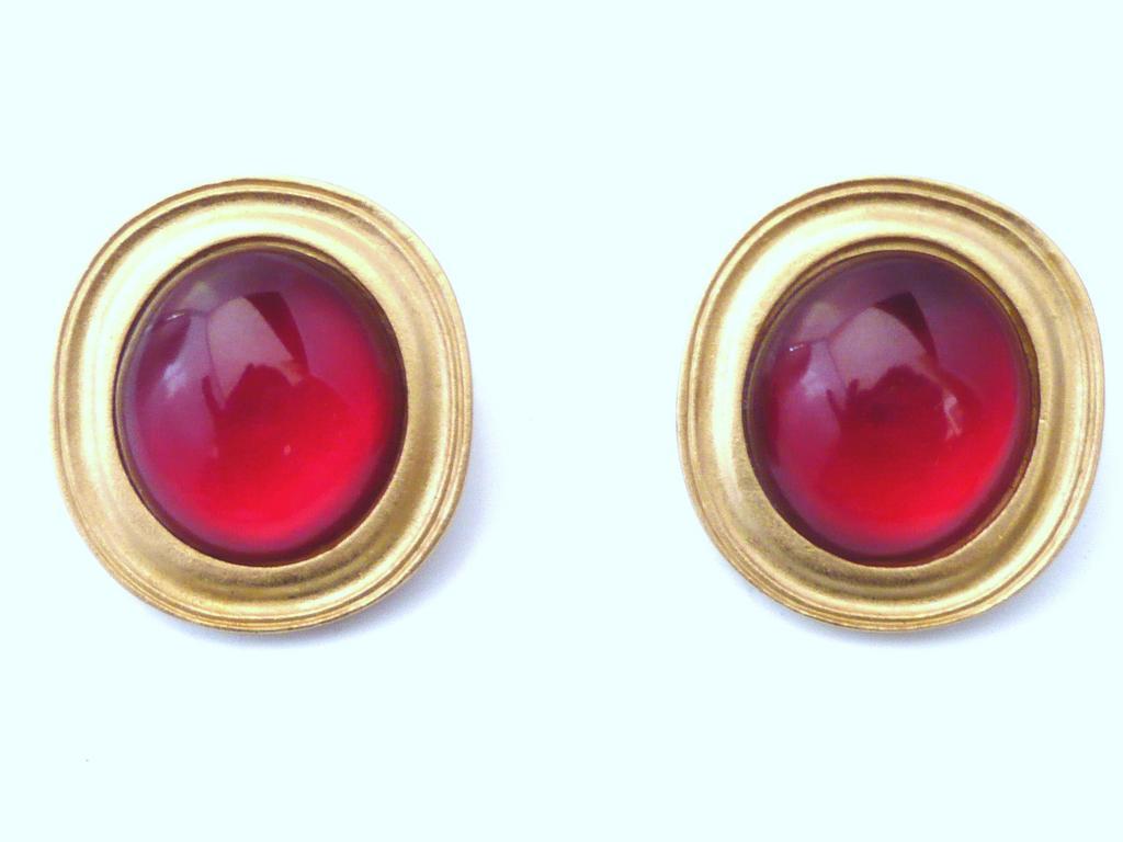 Yves Saint Laurent Bold Clip Earrings Red
