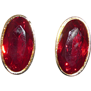 Yves St. Laurent Bold Pierced Earrings Red Glass
