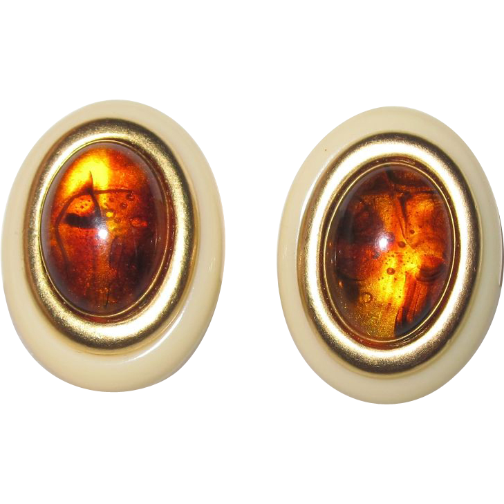Vintage Yves St. Laurent Pierced Earrings Cream and Amber
