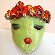 Vintage Artist Green Enamel Mask Brooch Scarf Slide