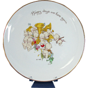 """Rose O'Neill Kewpie Plate """"Happy Days Are Here Again"""" Collector Plate"""