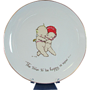 """Rose O'Neill Kewpie Plate """"The Time to Be Happy is Now""""  Collector Plate"""