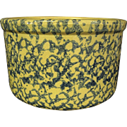 Beige with Blue Spongeware Robinson Ransbottom 2 Qt. Crock