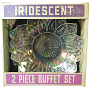 New Old Stock Two Piece Buffet Set, Federal Iridescent Glass