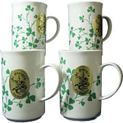 Set of Four St. George's Hand Crafted Shamrock Mugs with Original Foil Label