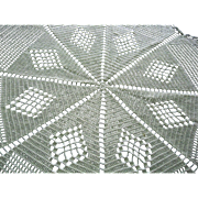 Filet Crocheted Off White Eight Point Star Shaped Tablecloth