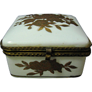 Small Porcelain Trinket Box with Hinged Lid