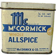Vintage Shabby and Rustic McCormick Whole Allspice Tin Container