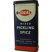 Acme Ideal Mixed Pickling Spice Tin Container With Contents