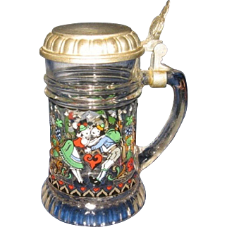 Miniature Glass Stein with Pewter Hinged Lid