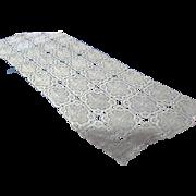 Unused Hand Crocheted Off White Table Runner / Dresser Scarf