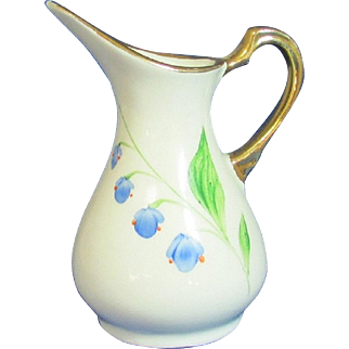 Blue Floral Small Earthenware Modernist Style Pitcher Shaped Vase