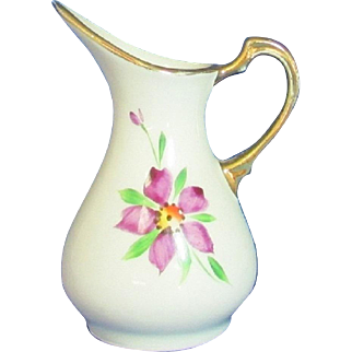 Purple Floral Small Earthenware Modernist Style Pitcher Shaped Vase