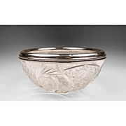 American Brilliant Cut Glass Bowl With Sterling Collar