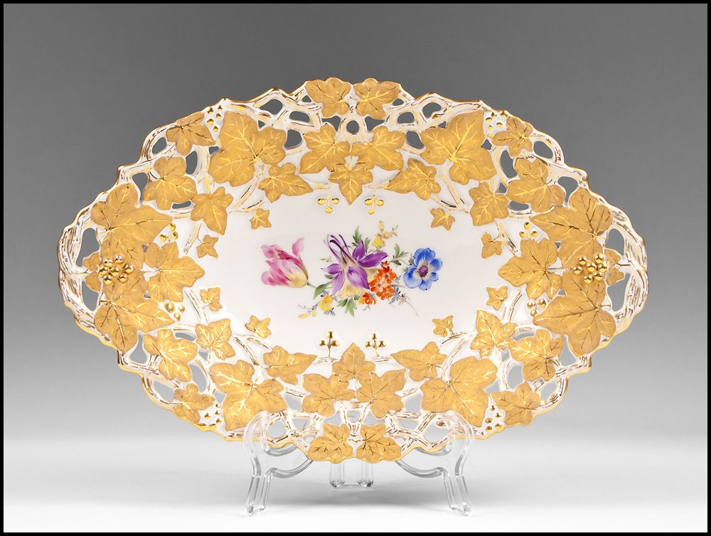 Late 19th C. Reticulated Meissen Lozenge Shaped Bowl