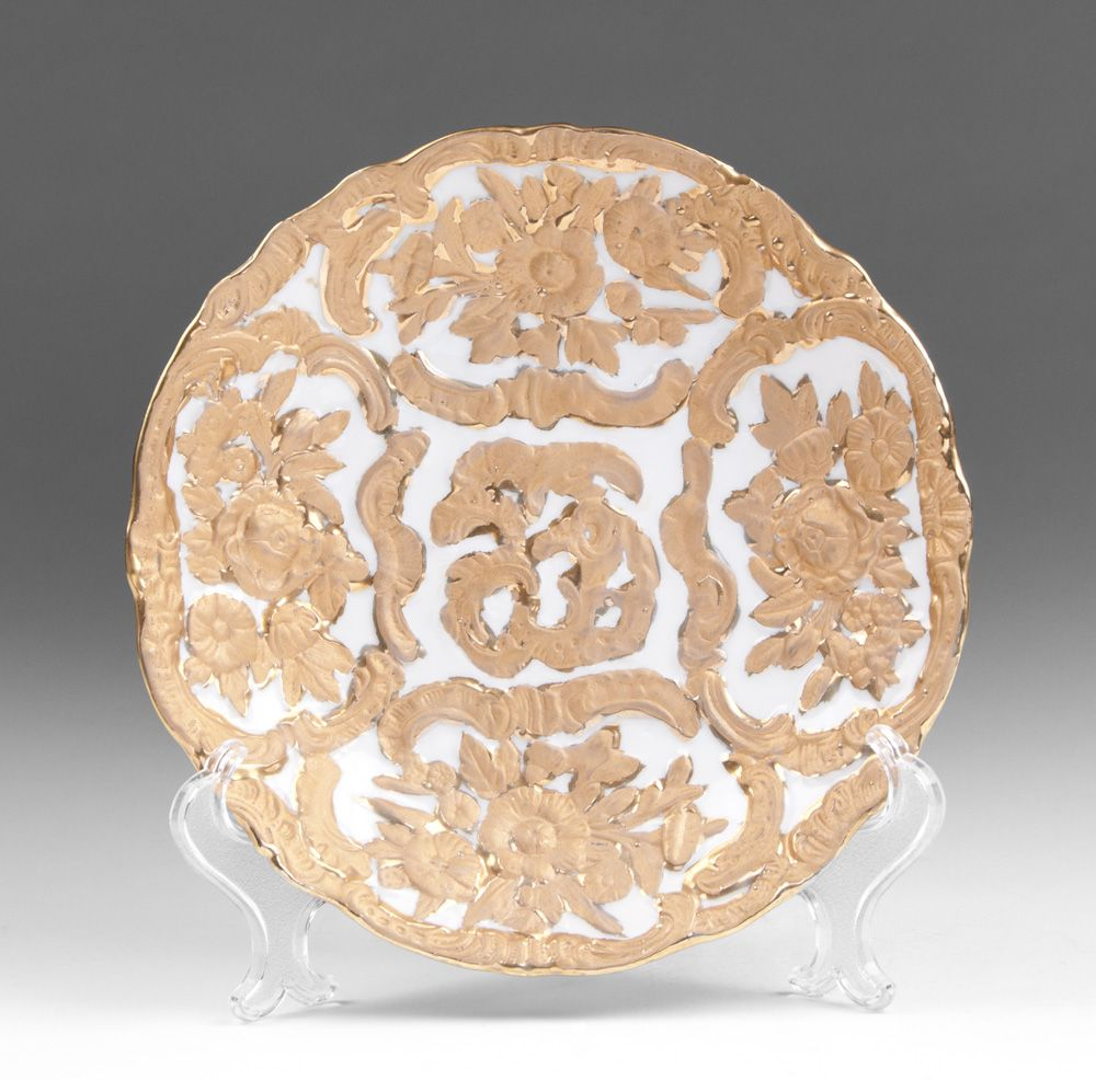Meissen Cabinet Plate Raised Gilded Relief