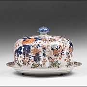 Late 19th C. Japanese Fukagawa Koransha Porcelain Cheese Dome & Stand