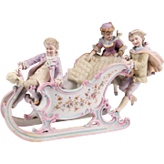 Victorian German Bisque Statue Of Children On A Sleigh