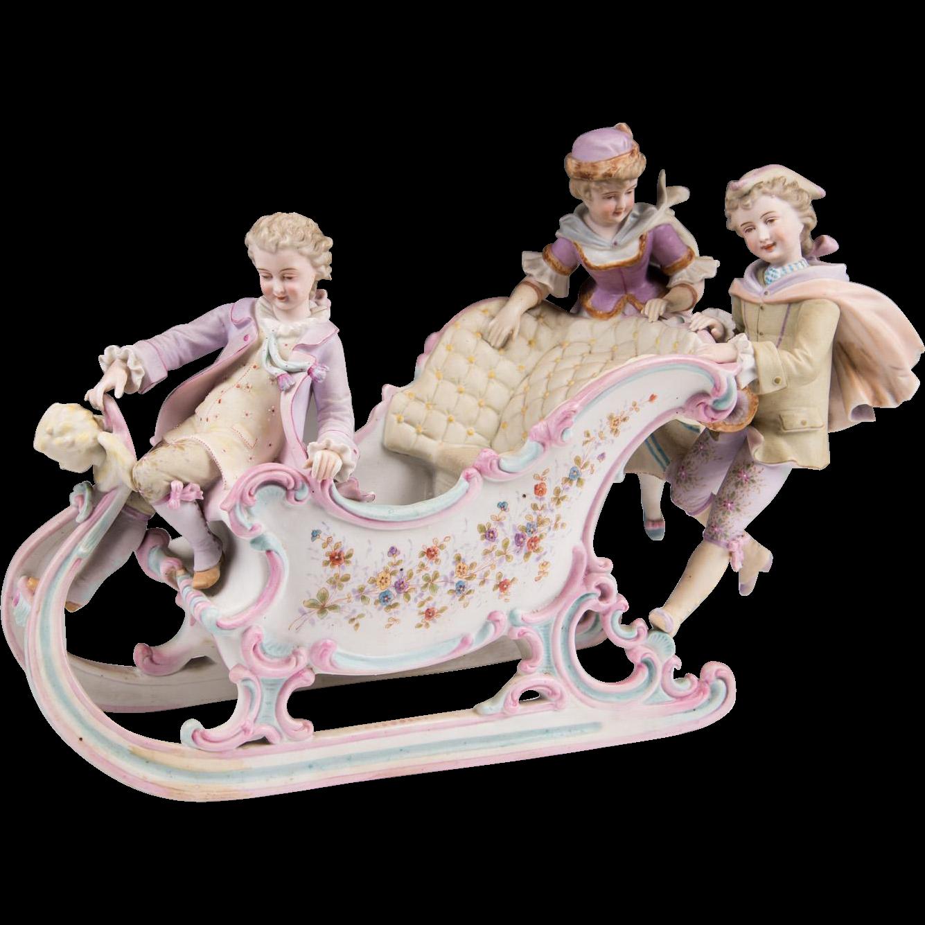 Victorian German Bisque Statue Of Children On A Sleigh