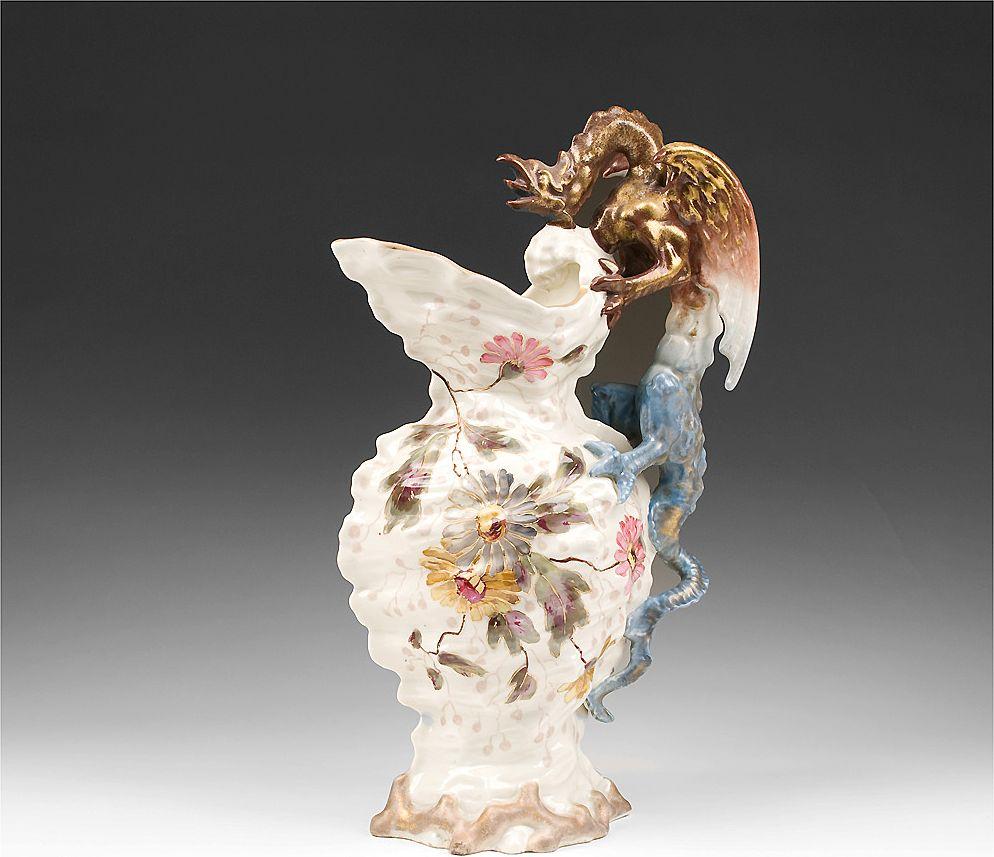 Art Pottery Bohemia Teplitz Shell Form Dragon Handle Ewer