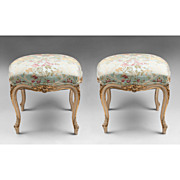 Pr. of Mid 19th C. Louis XV Carved Polychrome Tabourets Or Stools