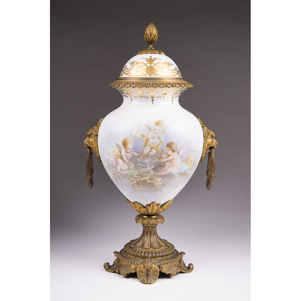Paris Porcelain Hand Painted Neoclassical Urn Mounted in Bronze