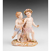 19th C. Meissen Porcelain Figurine Of Two Cherubs