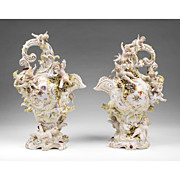 Pair of 19th C. Volkstedt Porcelain Cherub Encrusted Ewers