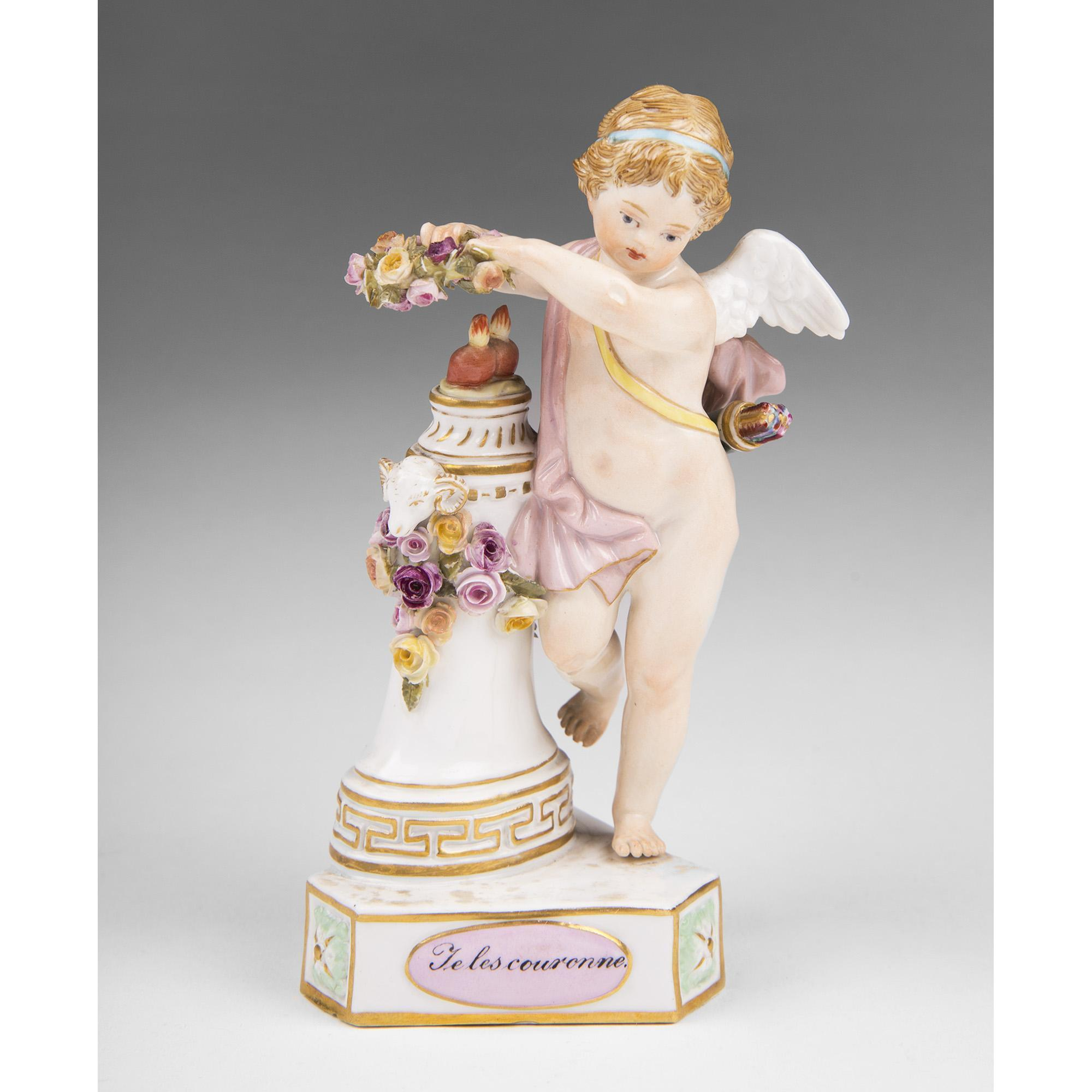 Meissen Figurine of Putto, Te les Couronne