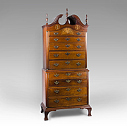 Small Scale American 18th Century Cherry Chippendale Chest On Chest, 1760-1780