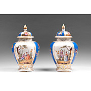Pair of 19th C. Dresden Helena Wolfsohn Ginger Jars