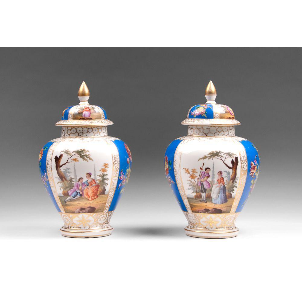 Pair of 19th C. Dresden Helena Wolfsohn Ginger Jars