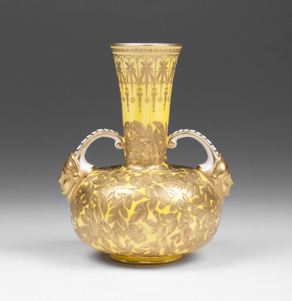1890 Royal Crown Derby Yellow Ground Vase