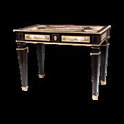 Third Quarter 19th C. Viennese Ebonized Gilt Bronze Mounted Salon Table, Enamel Plaques