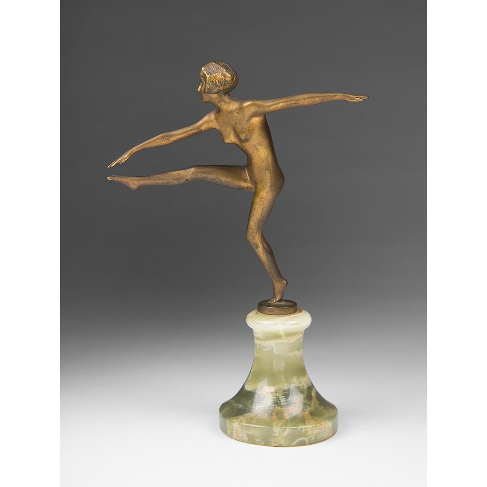 Bronze Art Deco Sculpture of Dancer by Josef Lorenzl, 1920's