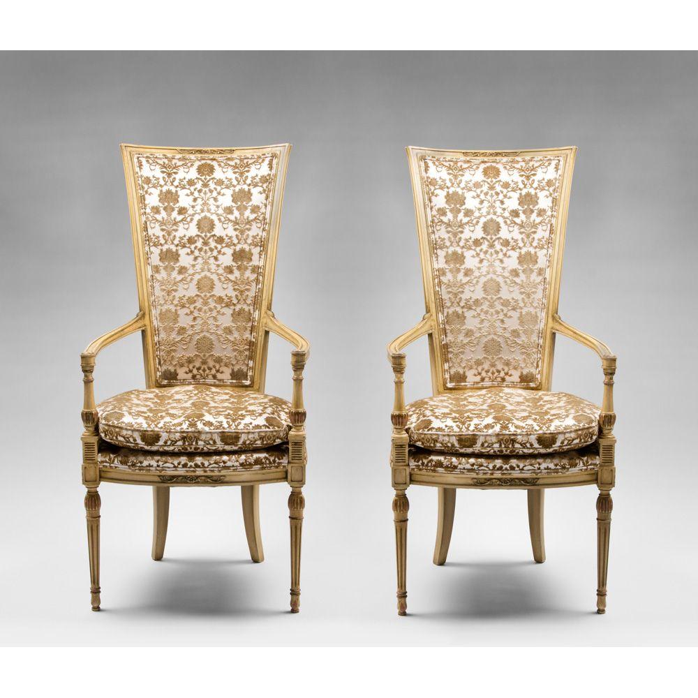 Mid Century Painted Italian Armchairs, Cut Velvet Upholstery