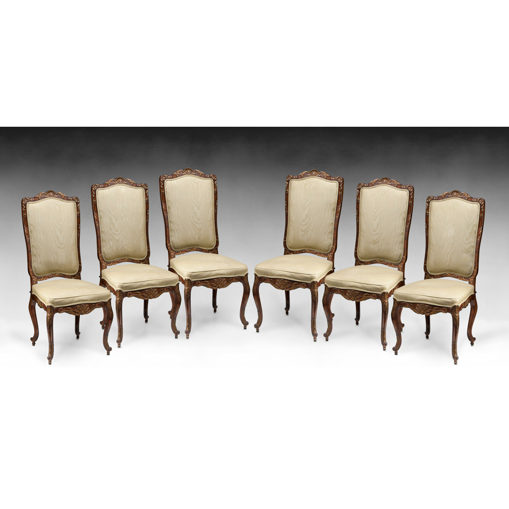 Louis xv dining chair - Set Of Six Louis Xv Style Carved Dining Chairs
