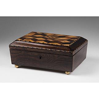 Victorian English Tunbridge Ware Box With Tumbling Block Parquetry