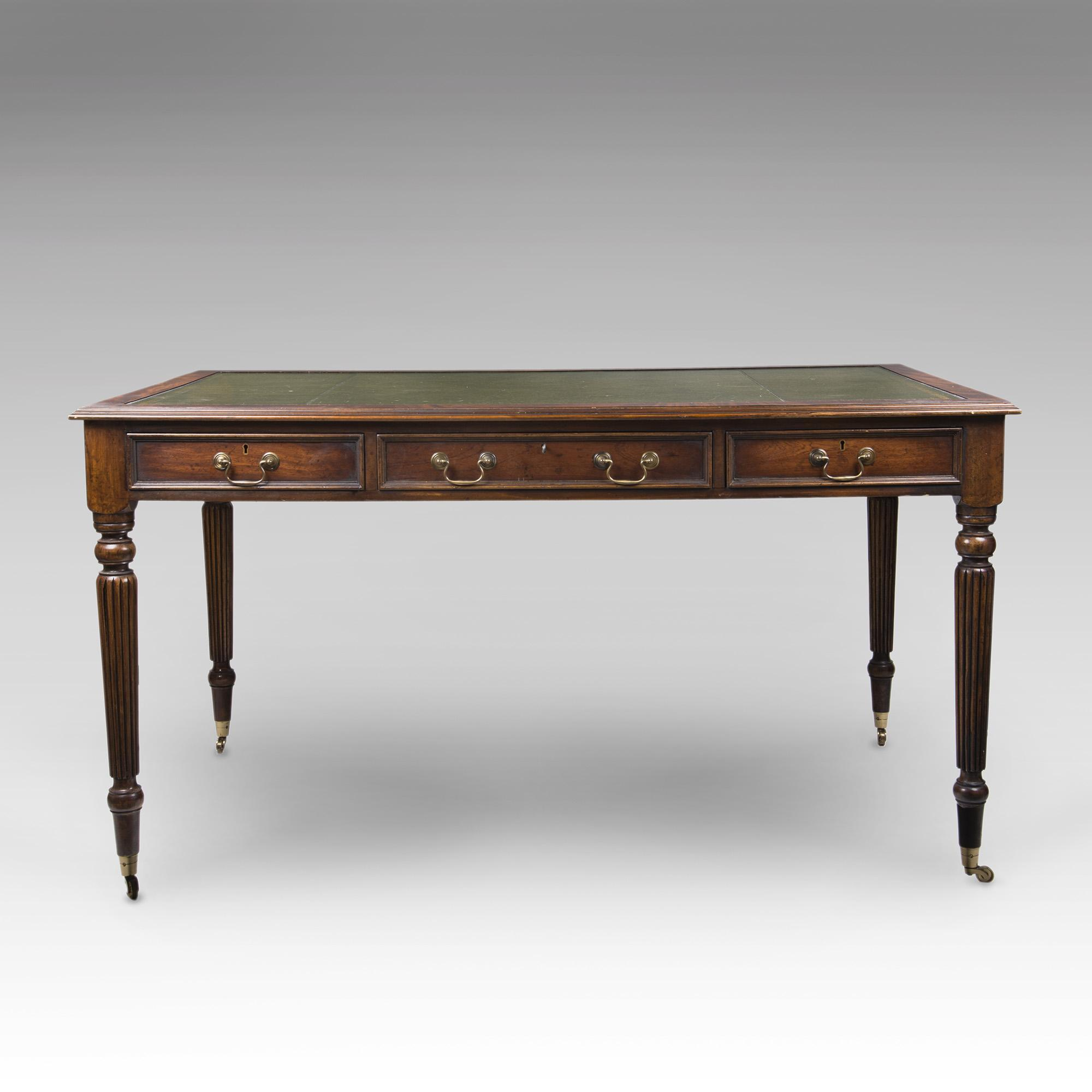 Custom English Regency Style Partners Desk, Green Leather Top