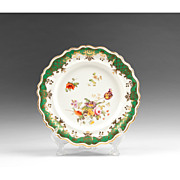 1840 English Ridgway China Dinner Plate With Botanicals