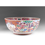 Chinese Export Porcelain Famille Rose Mandarin Palette Punch Bowl