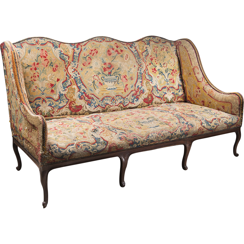 18th C. Louis XV Settee Covered In Tapestry